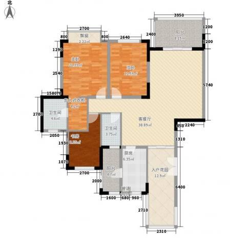 仁恒星园3室1厅2卫1厨143.00㎡户型图