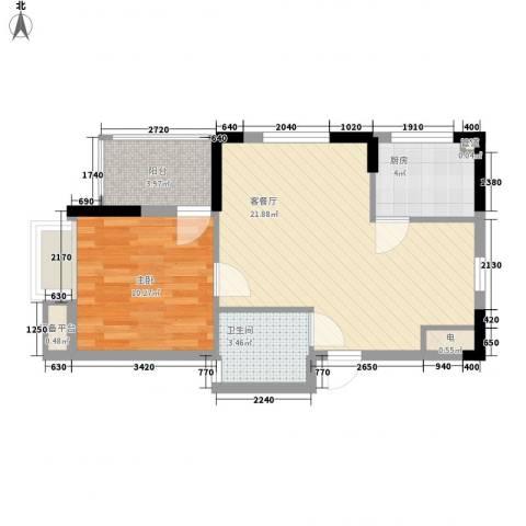 澄迈・温泉谷1室1厅1卫1厨64.00㎡户型图