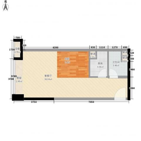 华发世纪城三期1厅1卫1厨52.00㎡户型图
