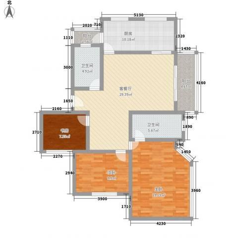 大华阳城四期阳城美景3室1厅2卫1厨136.00㎡户型图