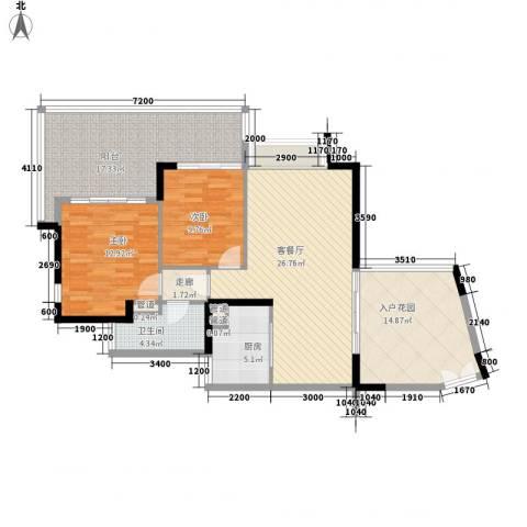 华发世纪城三期2室1厅1卫1厨93.30㎡户型图