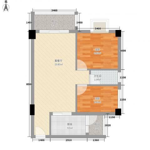 威斯广场2室1厅1卫1厨75.00㎡户型图
