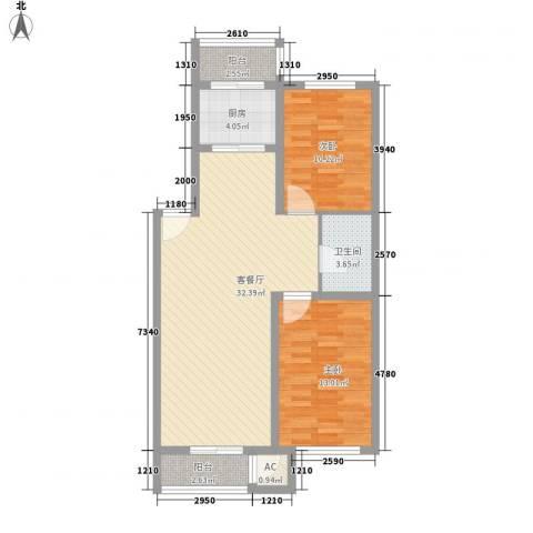 后林新村2室1厅1卫1厨102.00㎡户型图