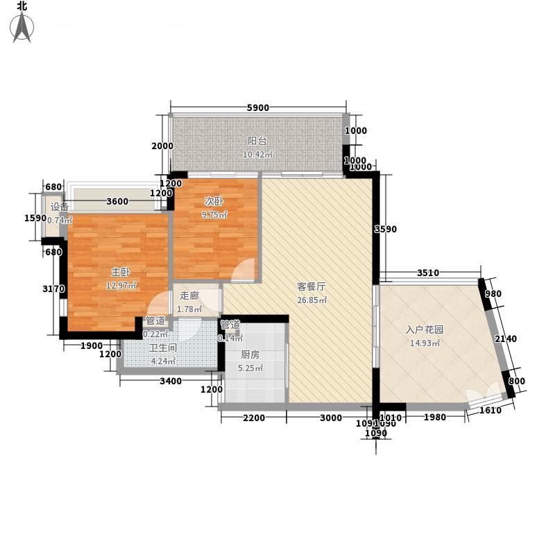 华发世纪城三期82.00㎡152-156栋偶数层A2户型2室1厅1卫1厨