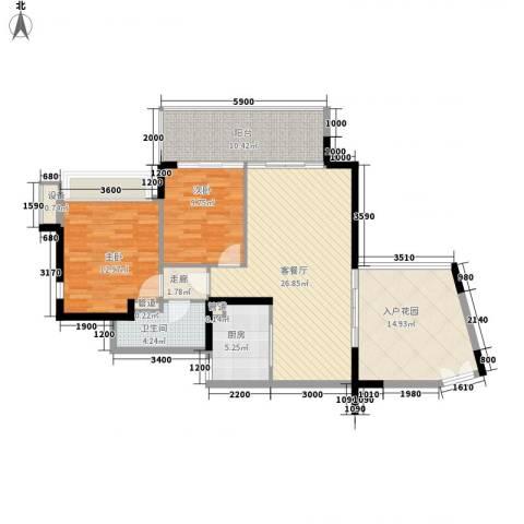 华发世纪城三期2室1厅1卫1厨87.30㎡户型图