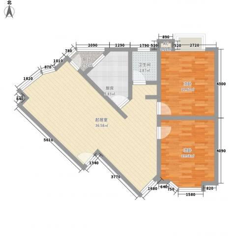 华田亲水湾2室0厅1卫1厨94.00㎡户型图