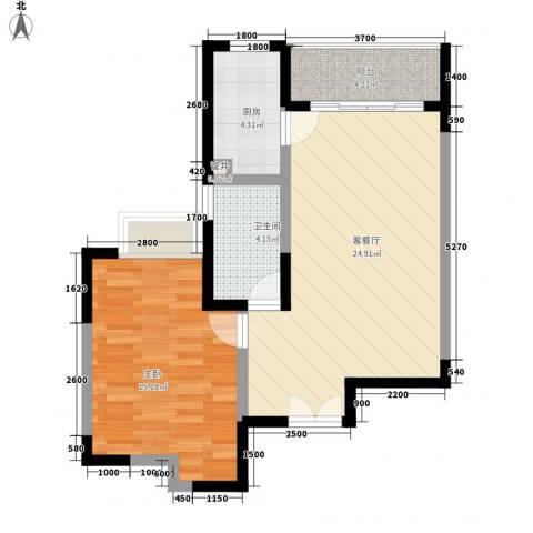 新世界花园1室1厅1卫1厨65.00㎡户型图