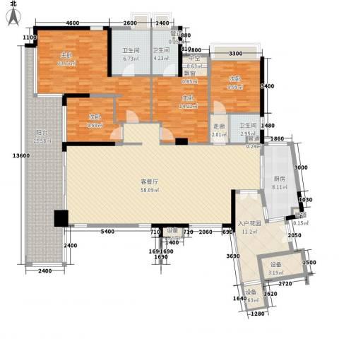 华发世纪城三期4室1厅3卫1厨180.18㎡户型图
