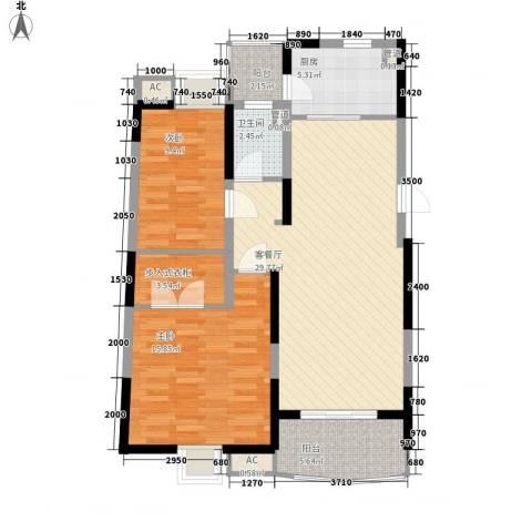 大华锦绣华城公园新纪2室1厅1卫1厨108.00㎡户型图