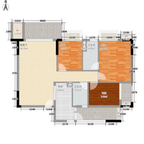 龙津世家3室1厅2卫1厨125.00㎡户型图