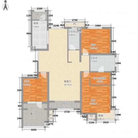 华夏第九园・兰亭3室1厅2卫1厨142.00㎡户型图