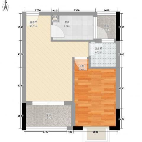 和华国际公寓1室1厅1卫1厨45.00㎡户型图