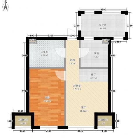 金地滨河国际社区1室0厅1卫1厨63.00㎡户型图