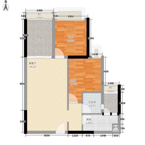 龙津世家2室1厅1卫1厨57.98㎡户型图