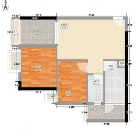龙津世家2室1厅1卫1厨76.00㎡户型图