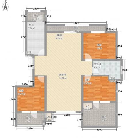 华夏第九园・兰亭3室1厅1卫1厨114.02㎡户型图