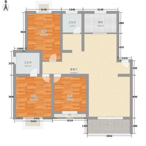 丽景江南3室1厅2卫1厨120.00㎡户型图