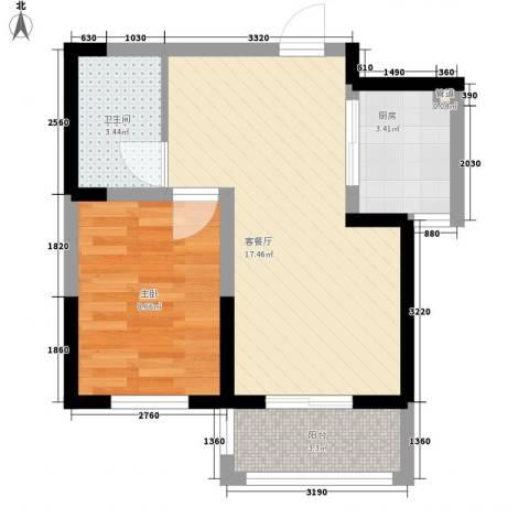 菁英汇1室1厅1卫1厨54.00㎡户型图