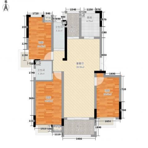 金茂国际3室1厅2卫1厨126.00㎡户型图