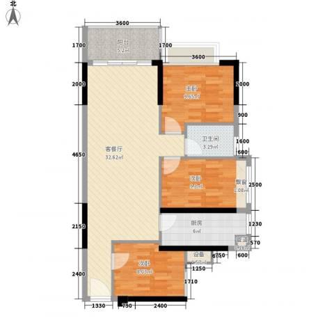 中央御园二期3室1厅1卫1厨84.00㎡户型图
