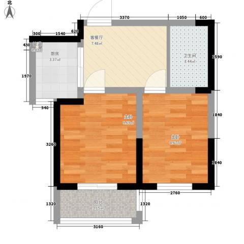 菁英汇2室1厅1卫1厨54.00㎡户型图
