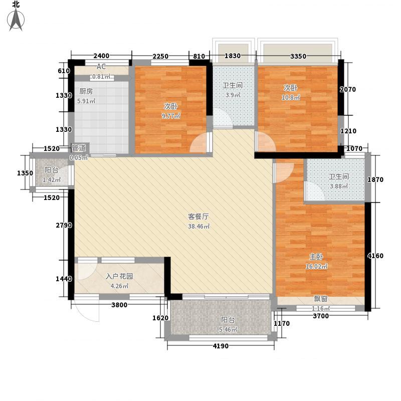 广投・龙象城11.00㎡13#14#B户型3室2厅2卫1厨