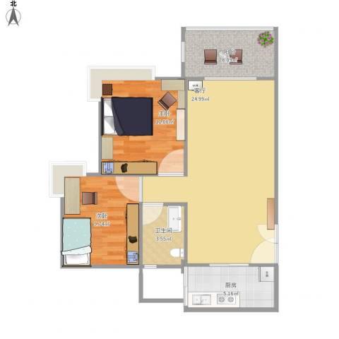广州亚运城天誉2室1厅1卫1厨82.00㎡户型图