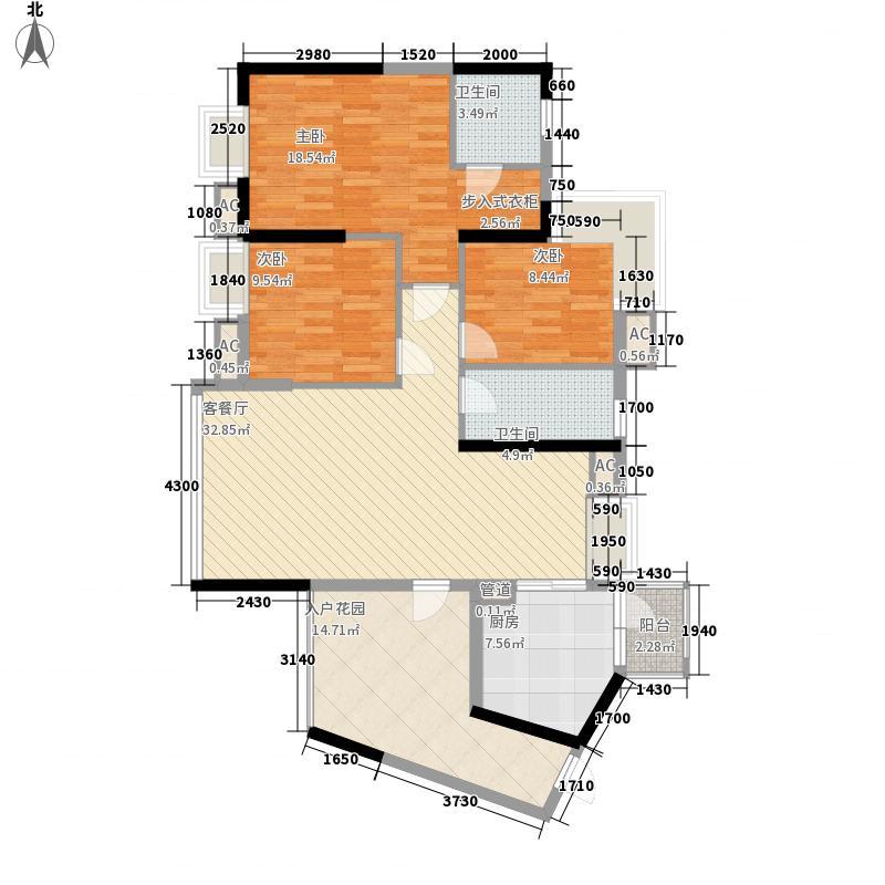 雅居蓝湾123.00㎡雅居蓝湾户型图1区3栋01单位3室2厅户型3室2厅