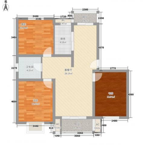 天奇盛世豪庭3室1厅1卫1厨112.00㎡户型图