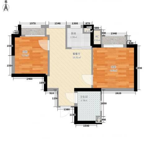 高山流水和城2室1厅1卫1厨57.00㎡户型图