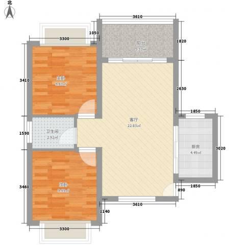 南天・太阳城2室1厅1卫1厨87.00㎡户型图