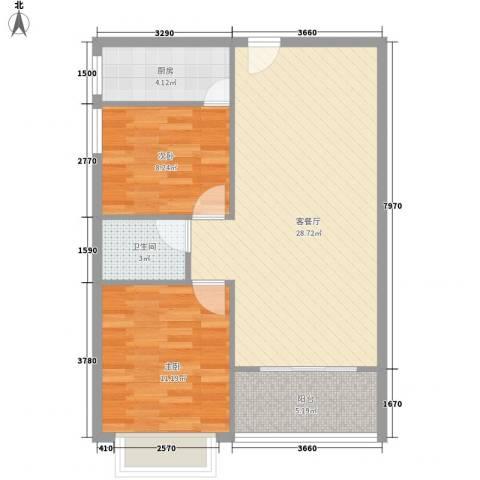 南天・太阳城2室1厅1卫1厨60.47㎡户型图