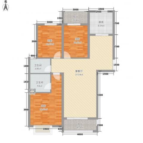 曲江风景线3室1厅2卫1厨138.00㎡户型图