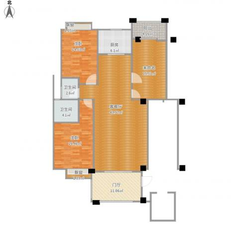 东方新城二期2室1厅2卫1厨162.00㎡户型图