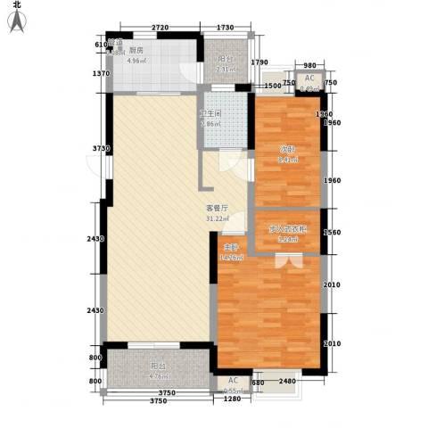 大华锦绣华城公园新纪2室1厅1卫1厨105.00㎡户型图