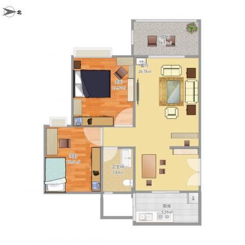 广州亚运城天誉2室1厅1卫1厨88.00㎡户型图