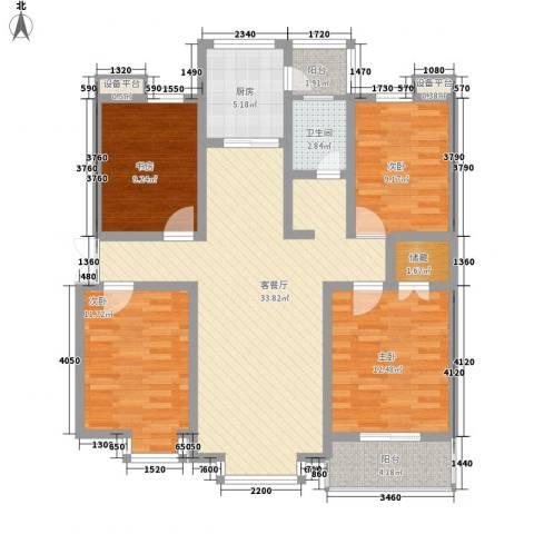 河畔春天4室1厅1卫1厨136.00㎡户型图