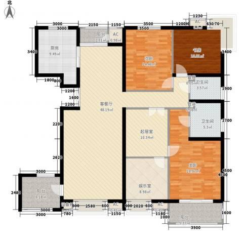 曲江风景线3室1厅2卫1厨194.00㎡户型图