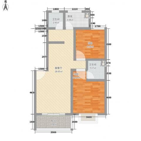 河畔春天2室1厅2卫1厨88.00㎡户型图