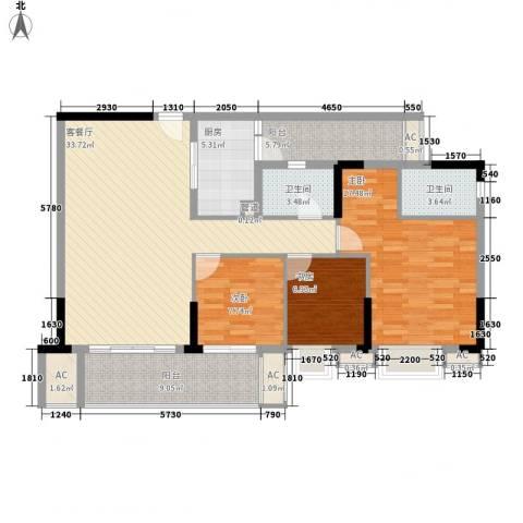 龙津世家3室1厅2卫1厨97.23㎡户型图