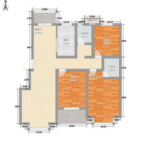 河畔春天3室1厅2卫1厨126.00㎡户型图