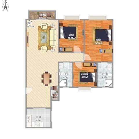 城市美林花园3室1厅2卫1厨127.00㎡户型图