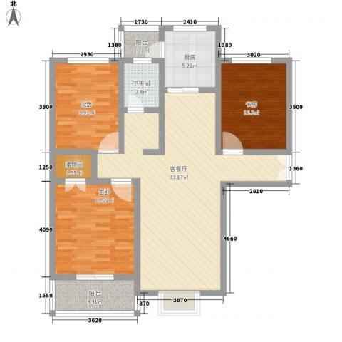 河畔春天3室1厅1卫1厨120.00㎡户型图