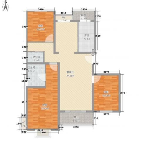 多友大厦3室1厅2卫1厨168.00㎡户型图