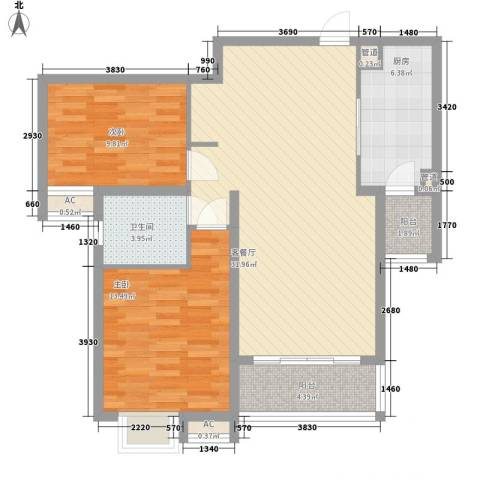 逸流公寓2室1厅1卫1厨105.00㎡户型图
