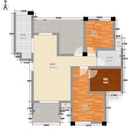 多友大厦3室1厅1卫1厨123.00㎡户型图