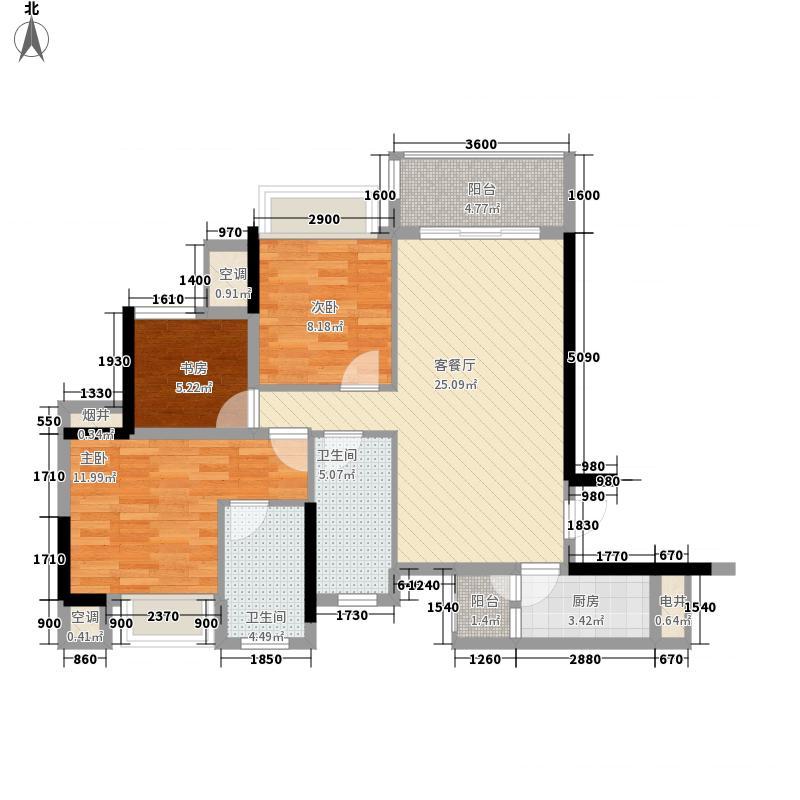 钜隆风度盛荟广场88.57㎡2栋01单元户型3室2厅2卫1厨