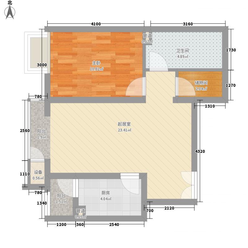 金隅凤麟洲68.00㎡2#1D户型1室2厅1卫1厨
