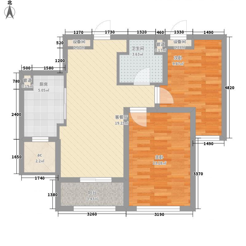 盛景丽苑85.00㎡G-0183户型2室1厅1卫