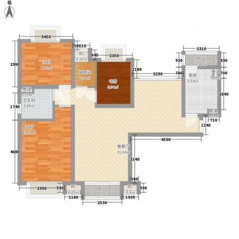 逸流公寓3室1厅1卫1厨112.00㎡户型图